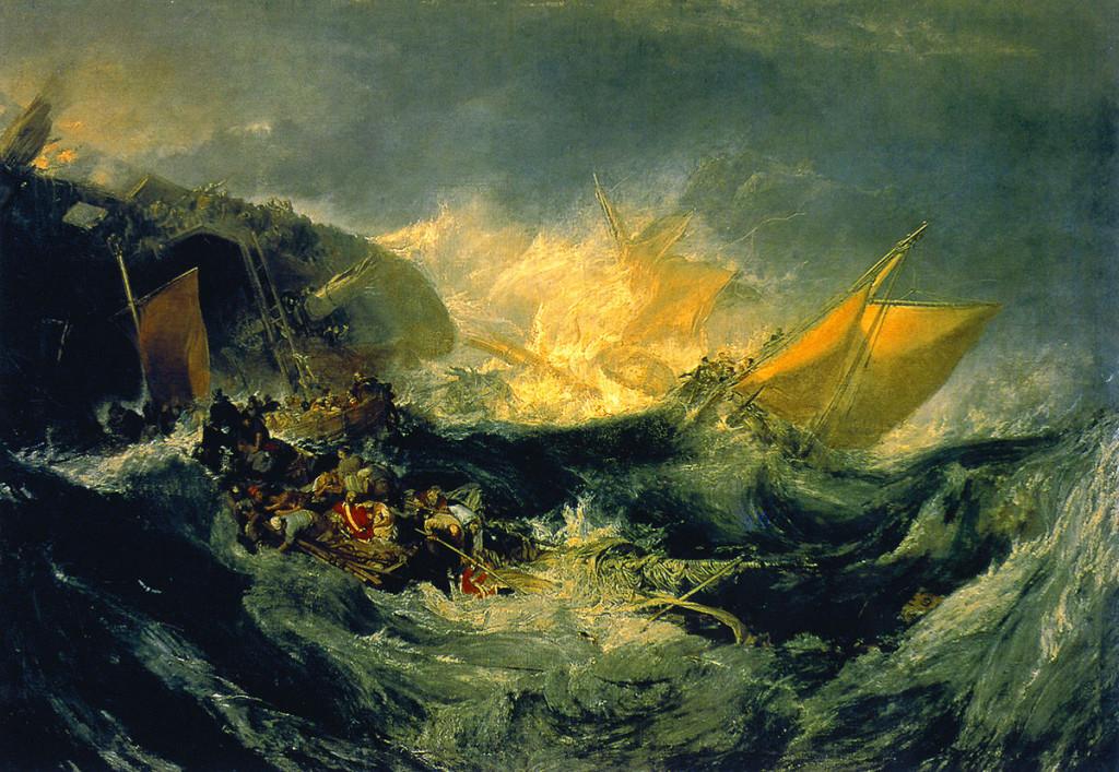 William Turner: Shipwreck of the Minotaur, 1810. Turnerin maalaus kuvasi alunperin nimettömän kauppalaivan haaksirikkoa, mutta linjalaiva HMS Minotaurin haaksirikkouduttua Hollannin rannikolle maalauksen valmistumisaikoihin Turner nimesi maalauksen uudestaan sen mukaan.