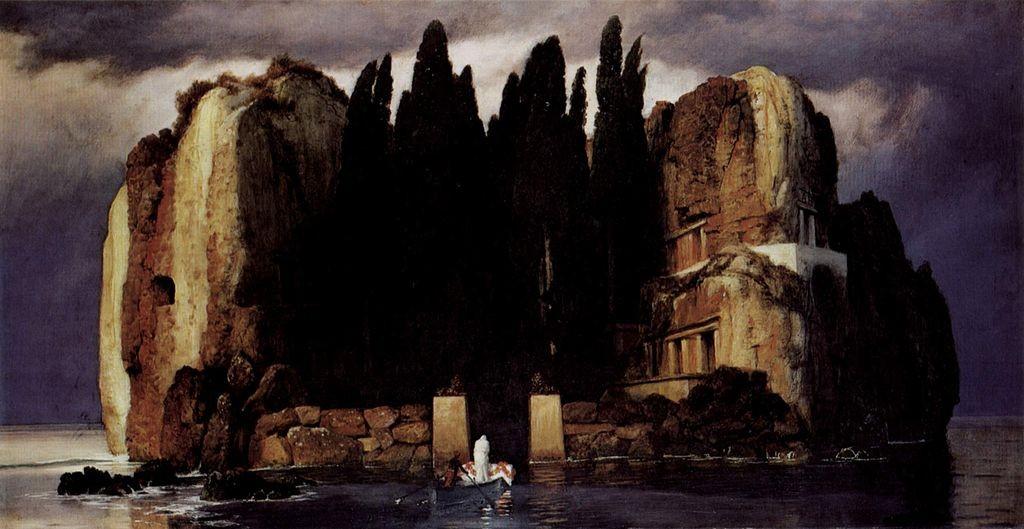 Arnold Böcklin: Viides ja viimeinen versio teoksesta Die Toteninsel, 1886).